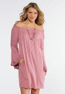 Pink Lace Trim Peasant Dress