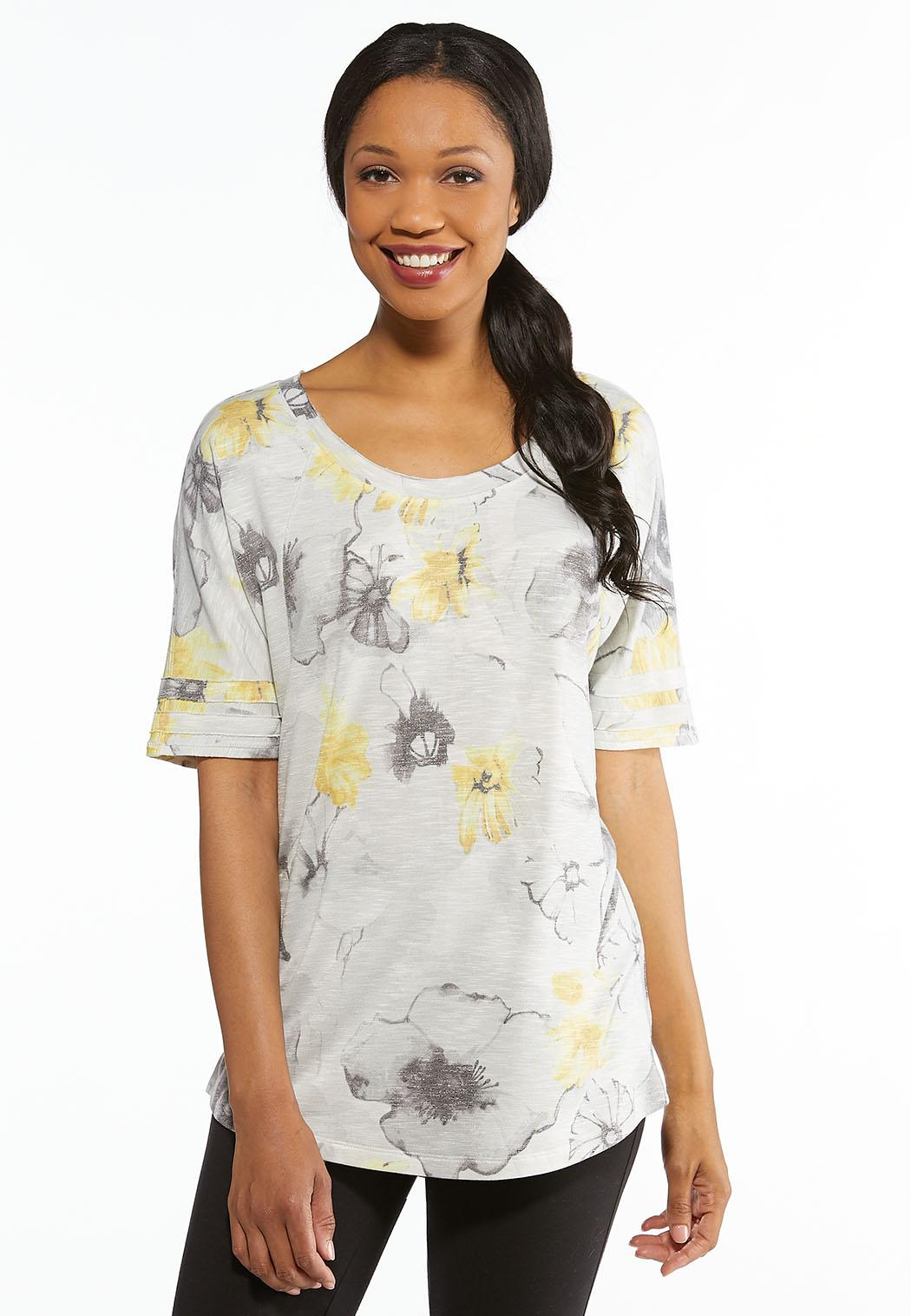 091541a214a617 Plus Size Floral Bow Back Top Tops Cato Fashions