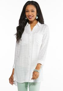 Plus Size Plaid Grid Tunic