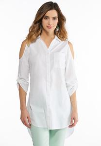 Plus Size Cold Shoulder Lace Back Shirt