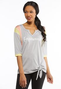Plus Size Empowered Tie Front Tee
