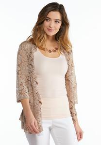 Plus Size Floral Lace Cardigan