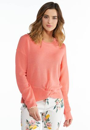 Knot Front Pullover Sweater