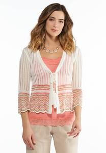 Scalloped Stripe Cardigan