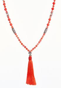 Colored Glass Bead Tassel Necklace