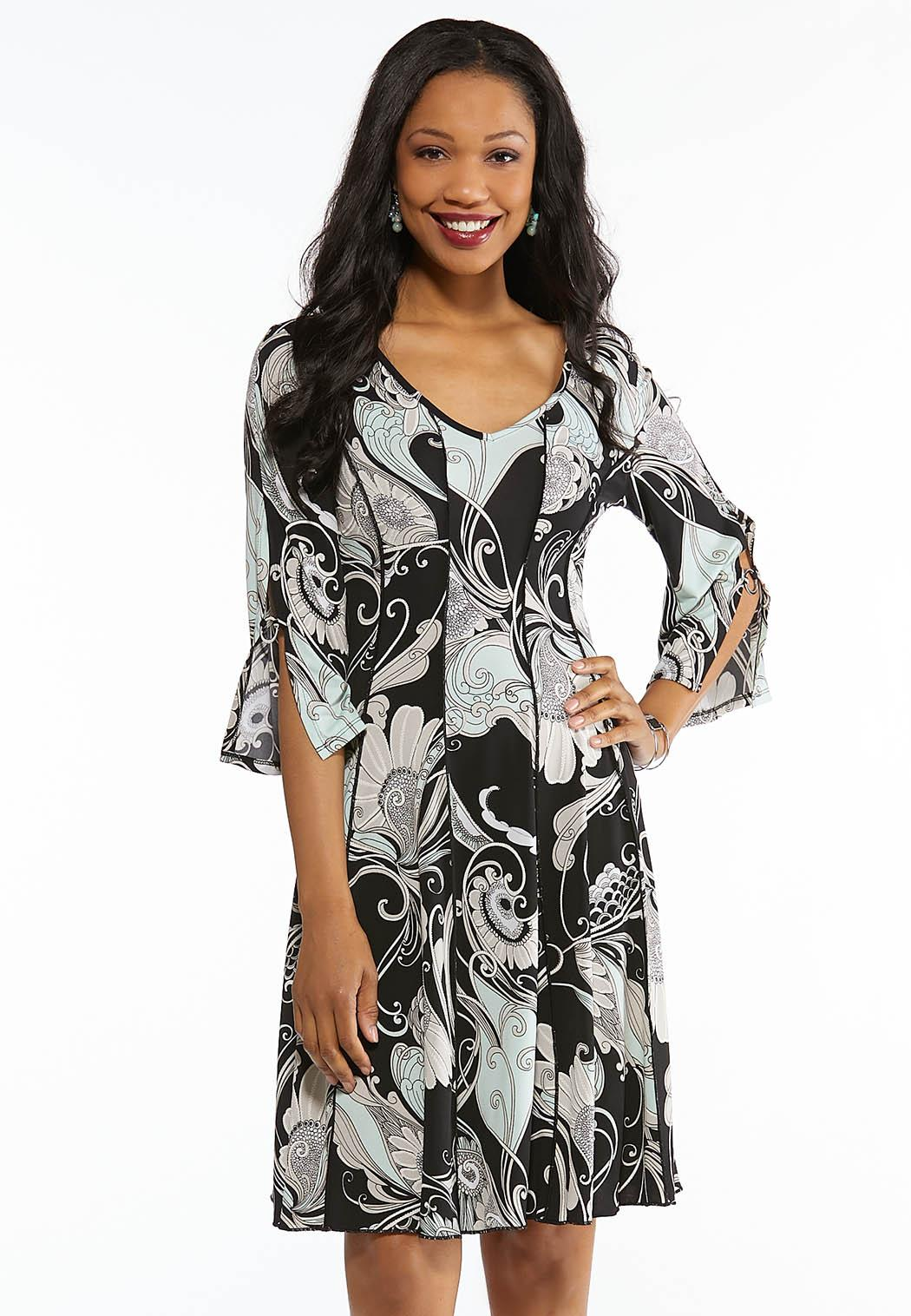 Plus Size Seamed Bell Sleeve Dress
