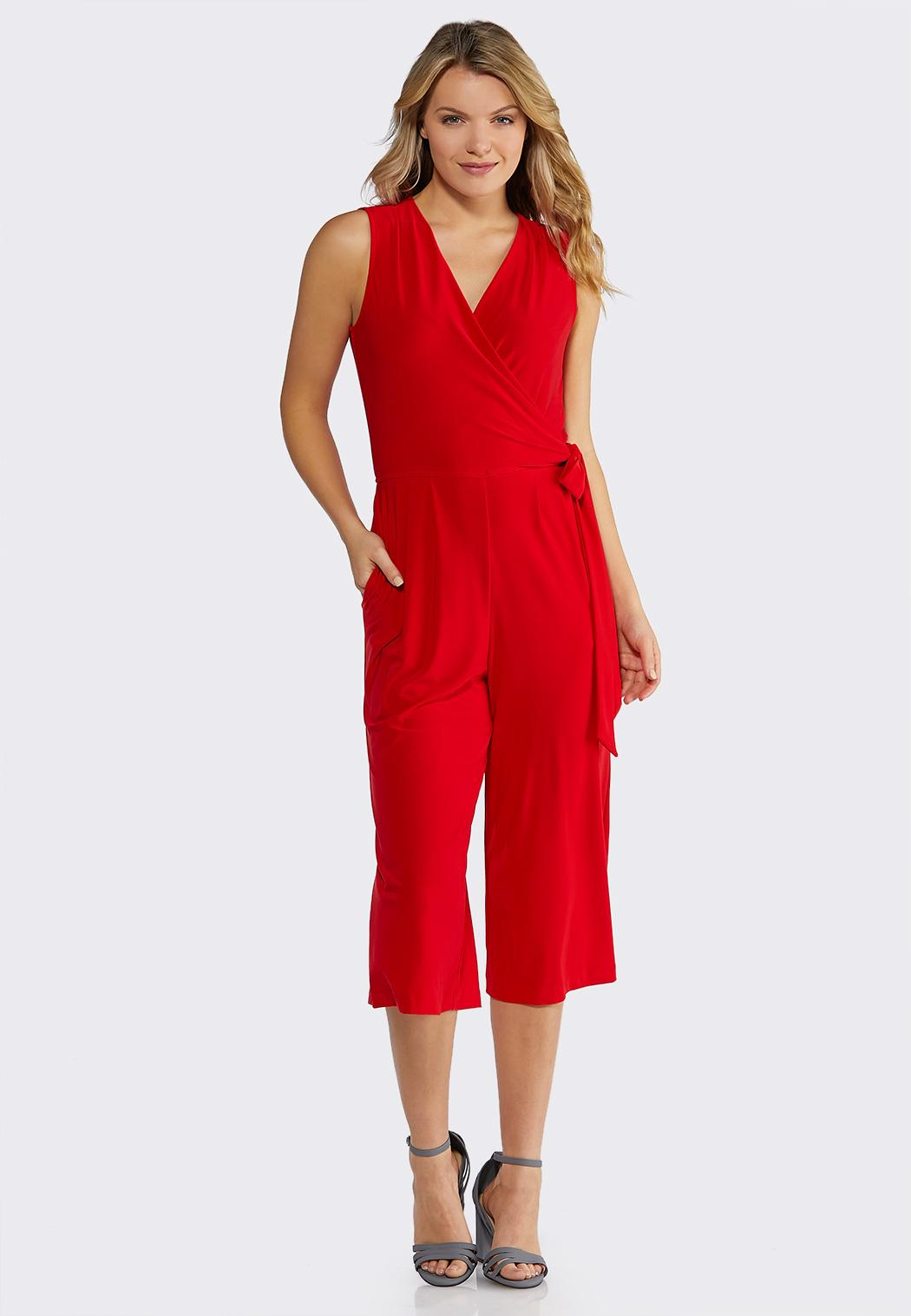 Red Side Tie Jumpsuit