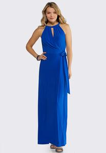 Plus Size Faux Wrap Solid Maxi Dress