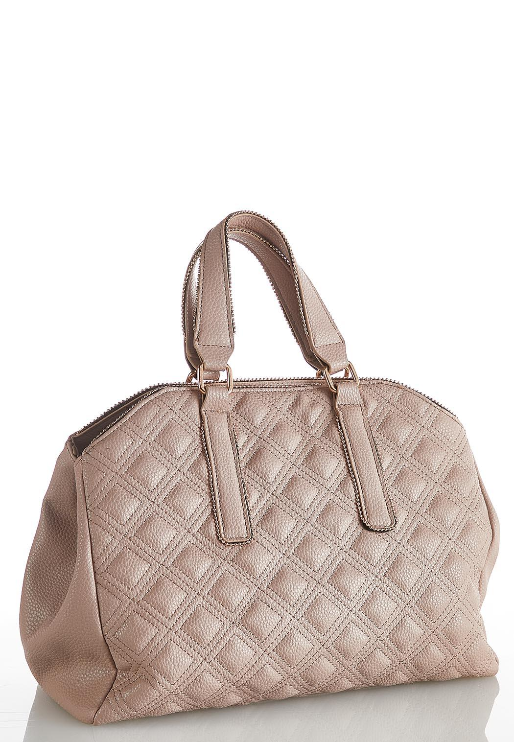 Stud Trim Quilted Hobo Handbag
