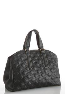 Stud Trim Quilted Hobo Handbag