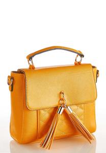 Quilted Front Tassel Crossbody