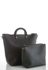 Faux Leather Tote And Crossbody