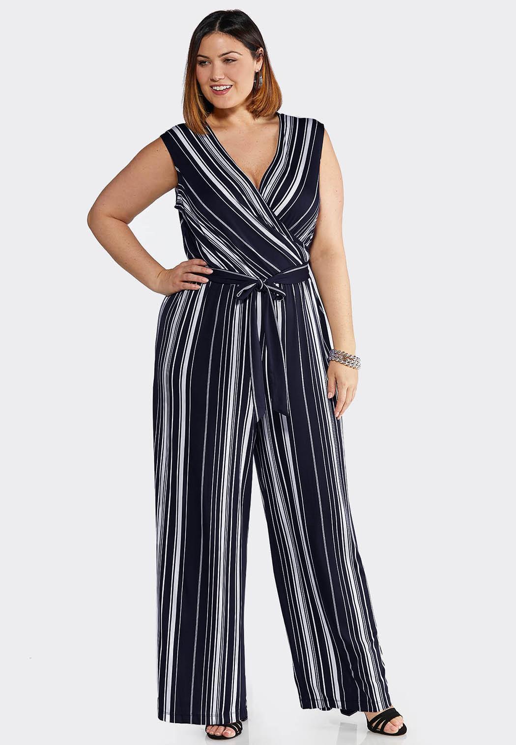 1a52ded7053a Plus Size Navy Stripe Tie Waist Jumpsuit Dresses Cato Fashions