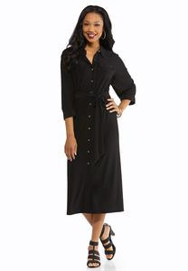 Plus Size Button Down Solid Midi Dress