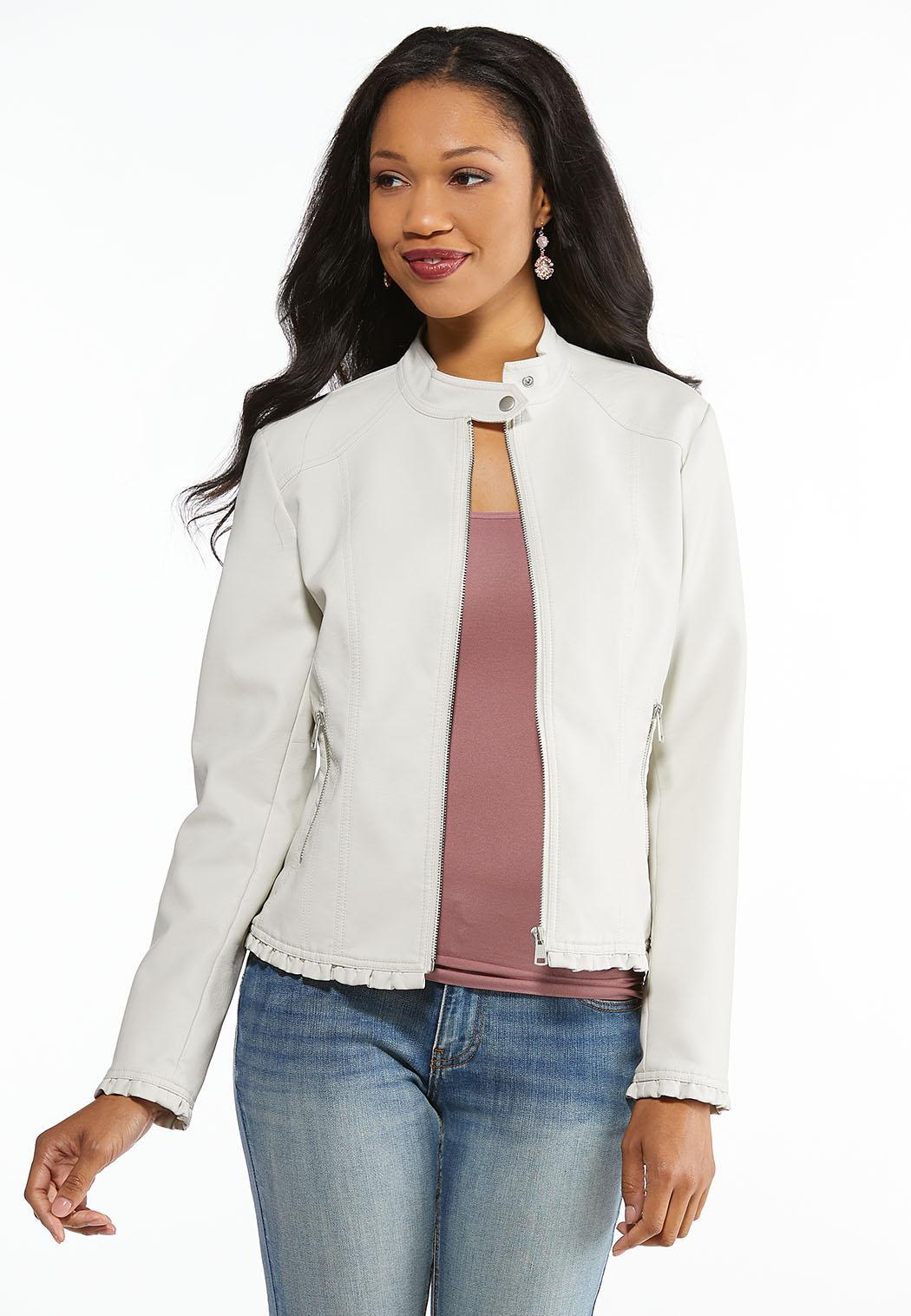 Ruffled Faux Leather Jacket