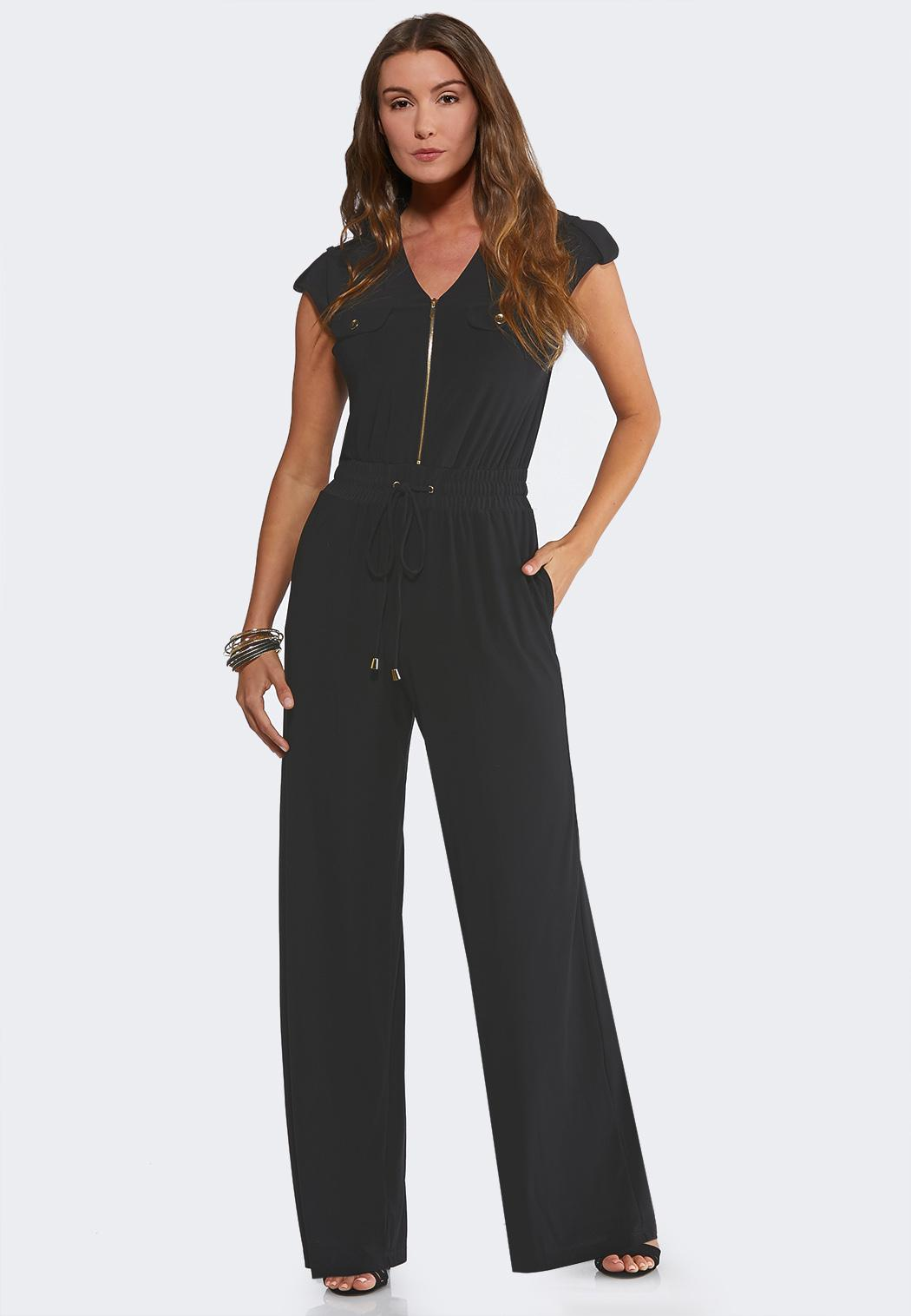 Plus Size Zip Smocked Waist Jumpsuit