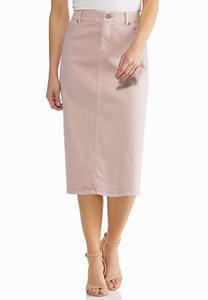 Plus Size Blush Denim Skirt