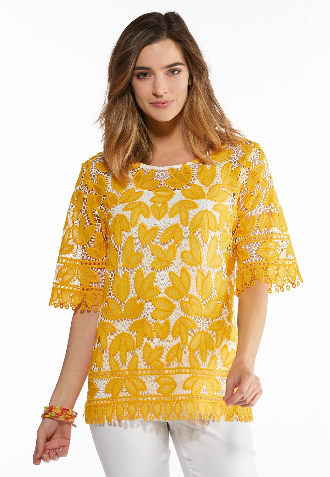 e70e0bff212826 Gold Leaf Crochet Top alternate view · Gold Leaf Crochet Top
