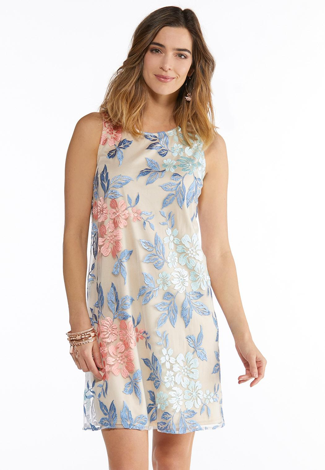 Plus Size Floral Embroidered Swing Dress A-line & Swing Cato Fashions