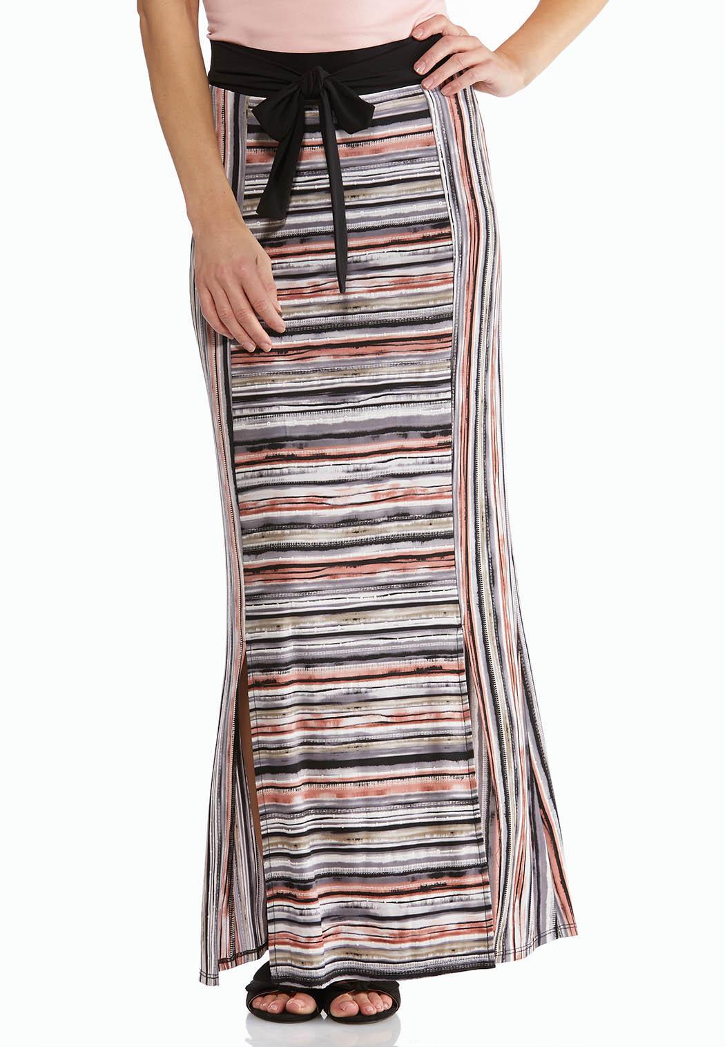 Textured Stripe Maxi Skirt