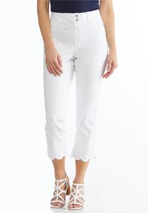 Cropped Eyelet Scalloped Jeans