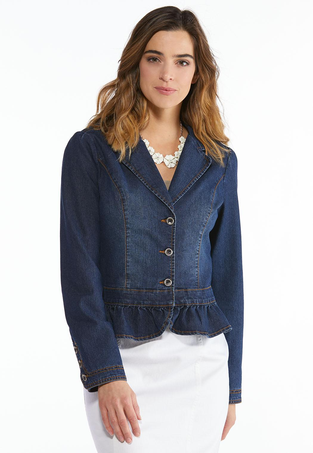 8ee3facf652 Plus Size Ruffled Denim Blazer Jackets Cato Fashions