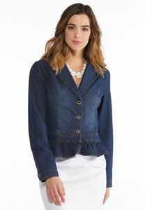Plus Size Ruffled Denim Blazer