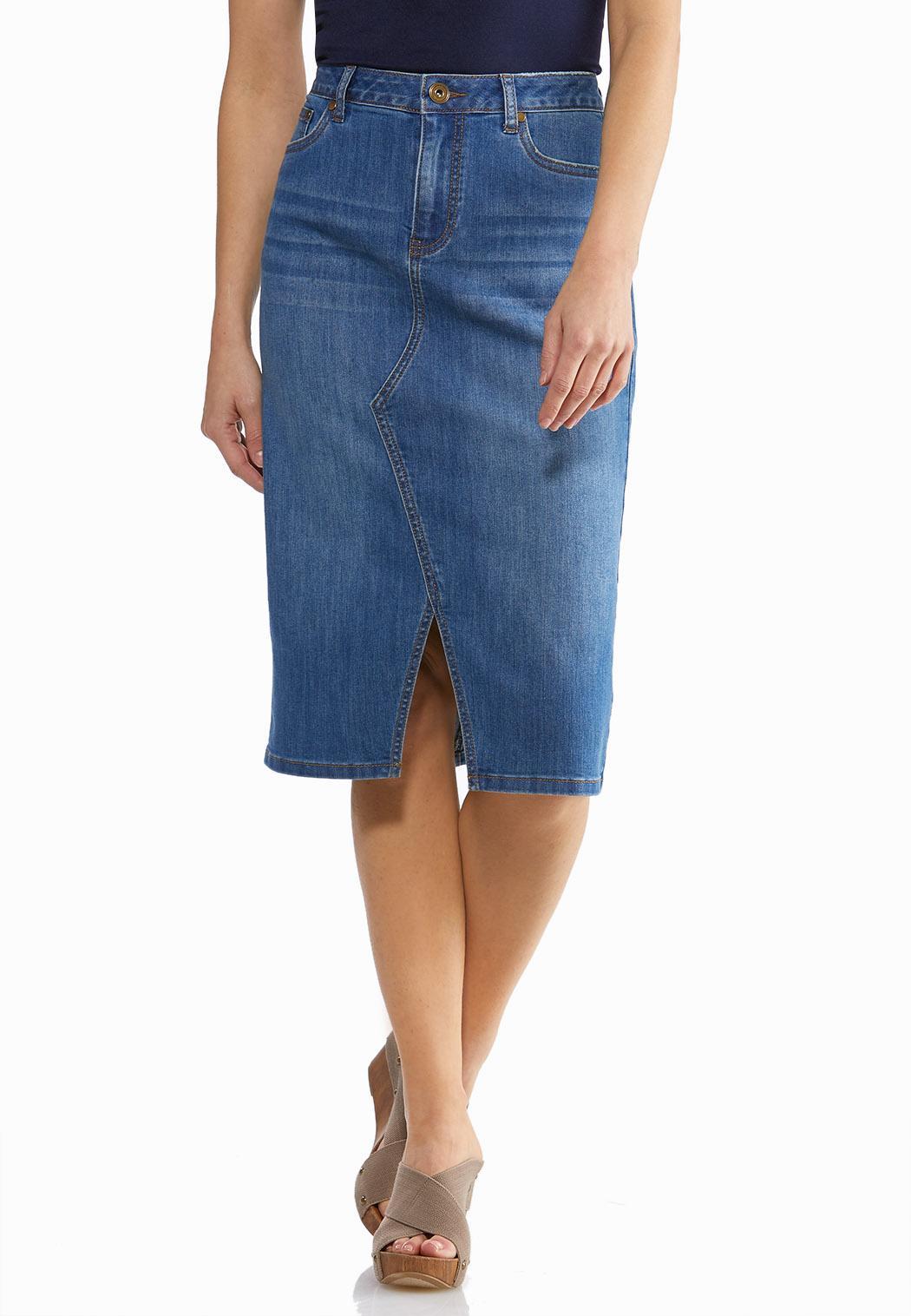 Plus Size Split Front Denim Skirt