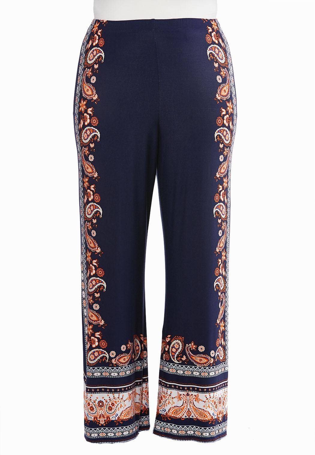 9bb6d29730eb Plus Size Paisley Border Print Palazzo Pants Wide Leg Cato Fashions