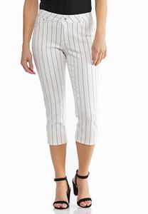Cropped Pinstripe Jeans