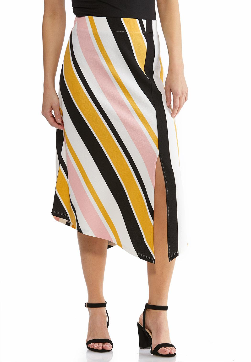 Plus Size Textured Stripe A-Line Skirt