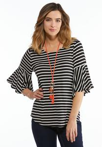Plus Size Stripe Flutter Sleeve Top