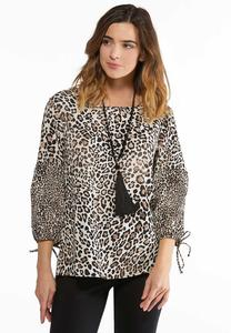 Leopard Balloon Sleeve Top