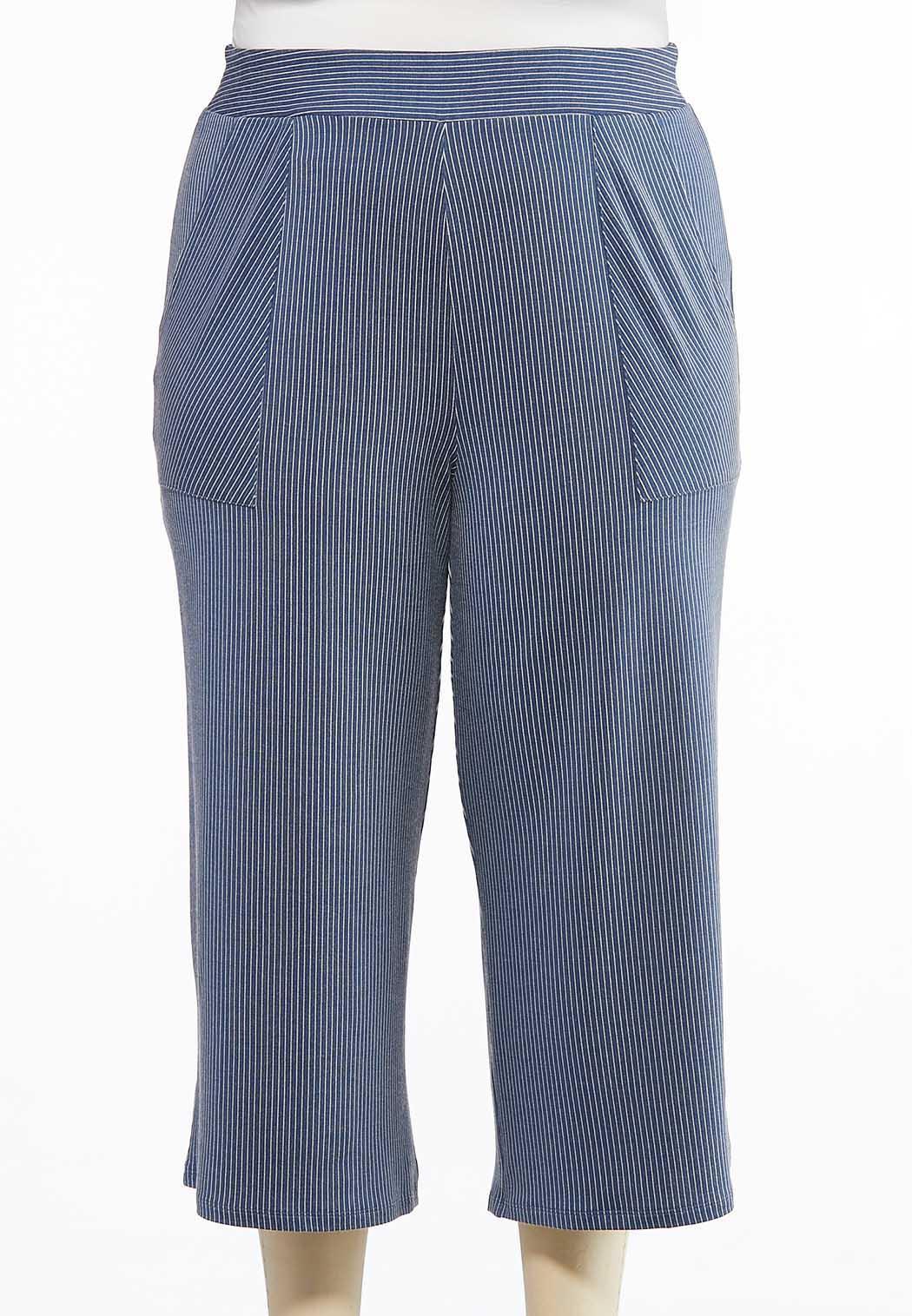 Plus Size Cropped Soft Stripe Pants