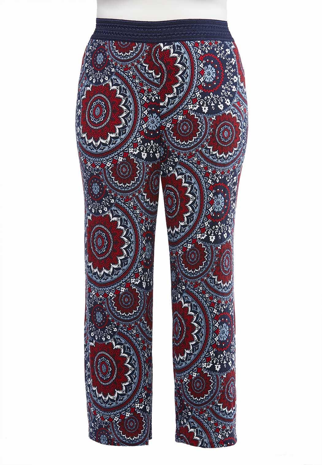 Plus Size Paisley Knit Palazzo Pants