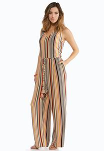 Petite Tie Waist Striped Jumpsuit