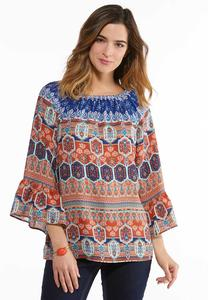 Plus Size Stripe Medallion Bell Sleeve Top
