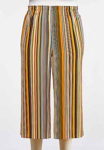 Plus Size Cropped Golden Stripe Pants