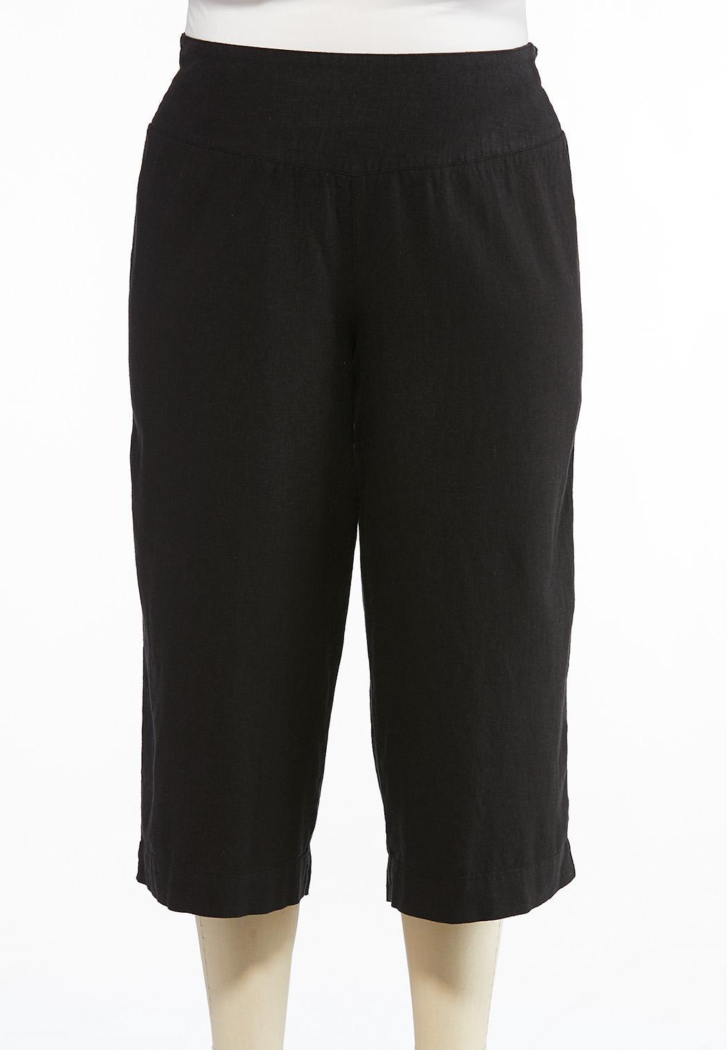 Plus Size Cropped Linen Pants