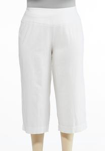 Plus Size Cropped Linen Pants