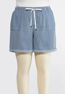 Plus Size Stripe Tencel Shorts
