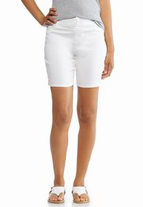 White Denim Bermuda Shorts