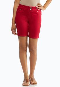 Red Denim Bermuda Shorts