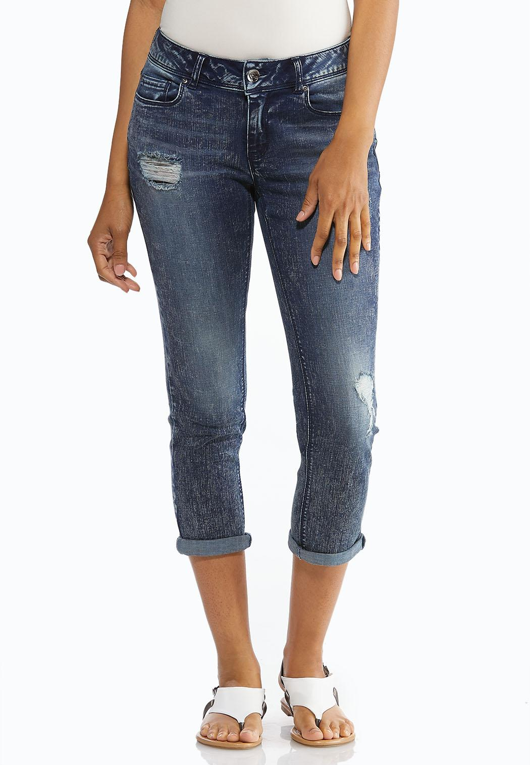 Distressed Reversed Wash Jeans