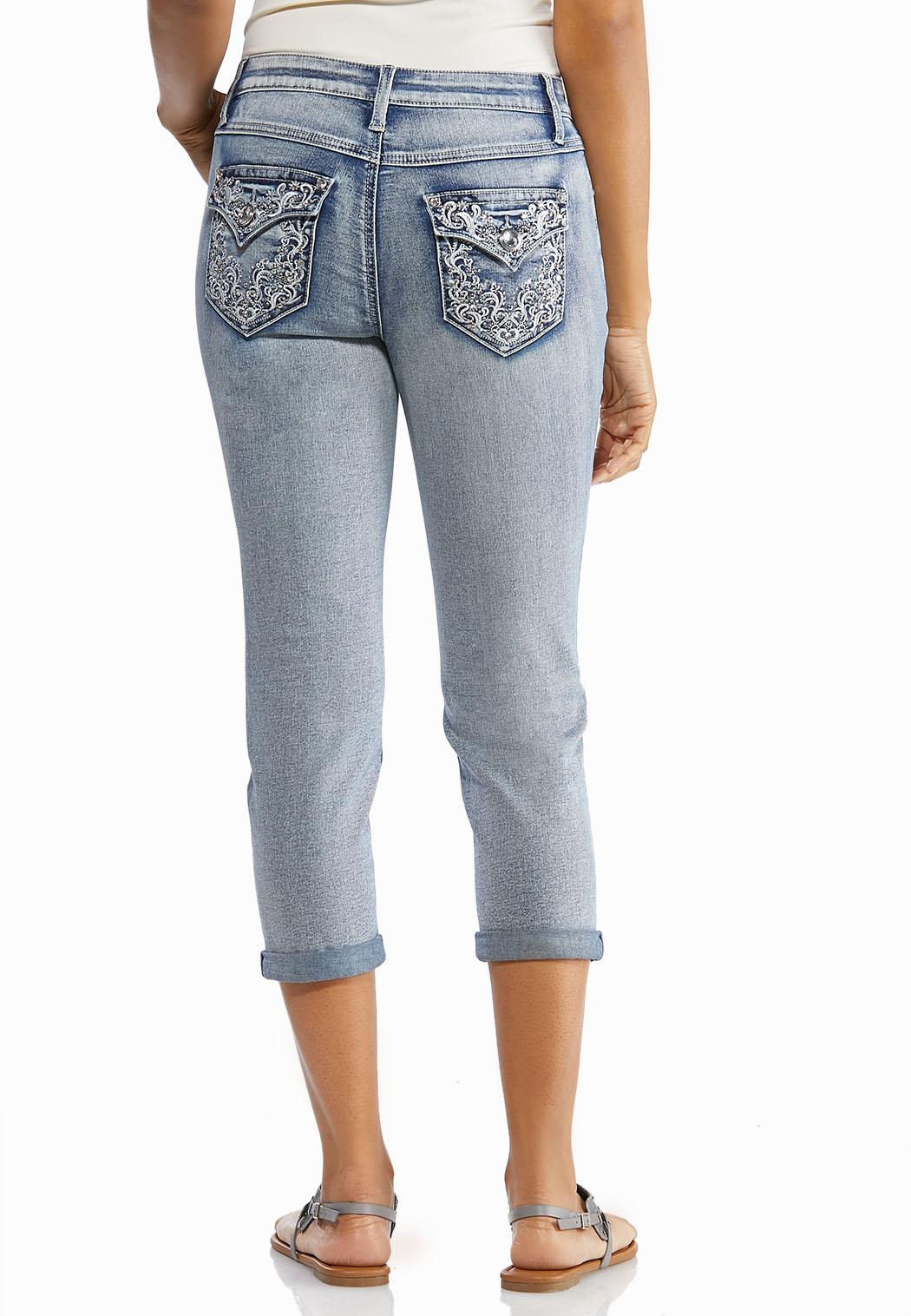 Cropped Rhinestone Embellished Jeans