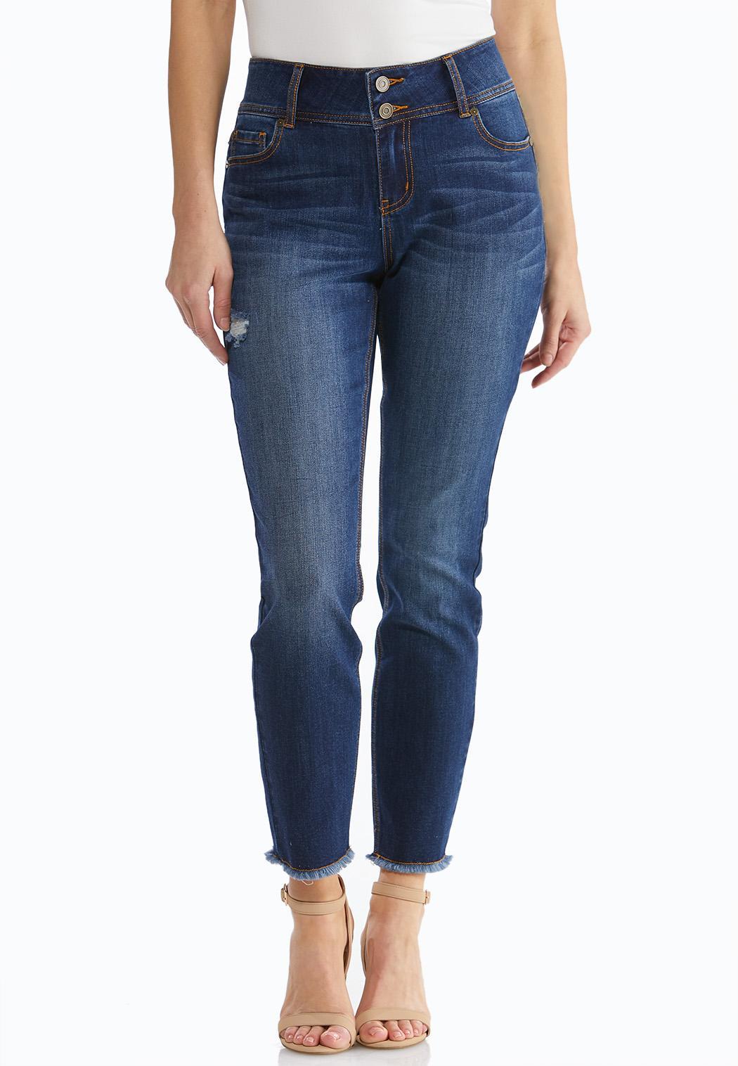 Distressed Fringe Hem Jeans