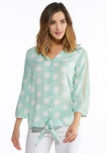 Plus Size Lace And Polka Dot Top