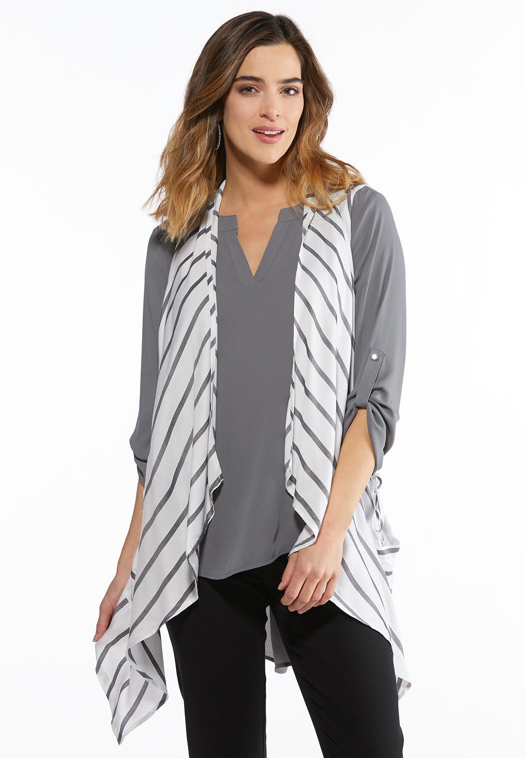 Diagonal Stripe Waterfall Vest