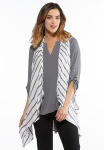 Diagonal Stripe Waterfall Vest