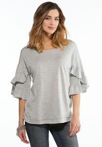 Solid Double Ruffled Top